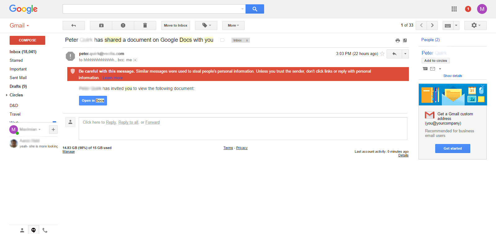 Gmail Phishing Attack Scams Using Google Docs AskCyberSecuritycom - Google docs for personal use
