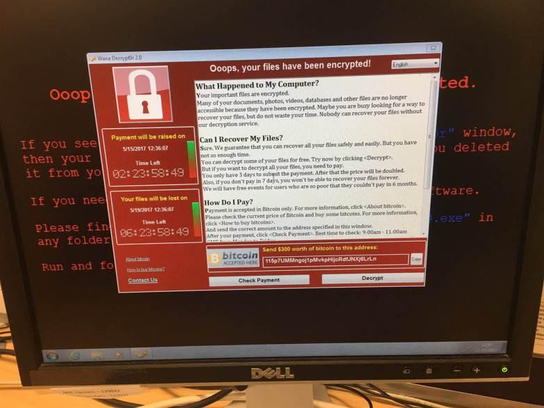 Wana Decrypt0r Malware screenshot