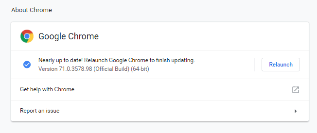 Chrome 72 Update Relaunch