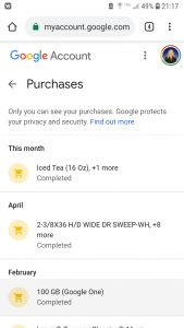 Google Purchases Screenshot