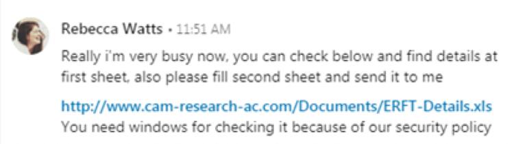 APT34 LinkedIn Message FireEye