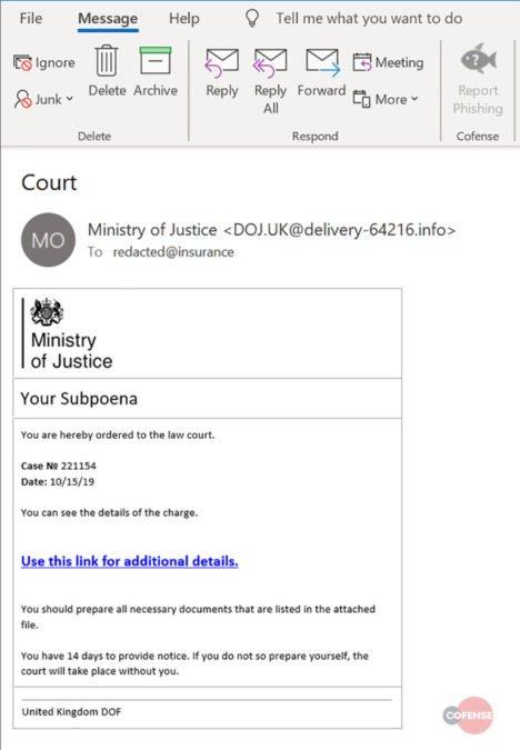 UK Ministry of Justice Subpoena Phishing Scam Screenshot